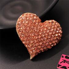 Johnson Charm Brooch Pin Gifts Rhinestone Champagne Shiny Heart Crystal Betsey