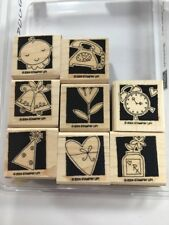 Stampin' Up! OCCASIONALLY Set of 8 Stamps heart baby phone clock bells party