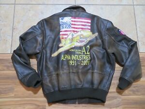 Alpha Industries Leather A-2 Bomber Jacket Brown 2 Patches Logo Printed Back XL