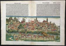 Doppelseitige Stadtansicht BASEL Schedel Weltchronik 1493 koloriert City view