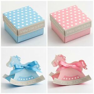 Pink/Blue A New Star Is Born Baby Shower Christening Favour Boxes Keepsake Gift