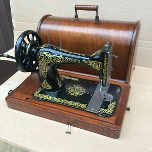"""Antique Singer 28, 28K hand-crank sewing machine with bentwood case and """"Scrolls"""