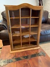 Curio Display Cabinet Case Table Top Wall Hanging Wood and Glass