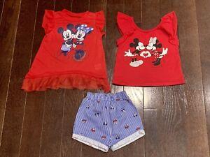 3T Mickey & Minnie Shorts Tank Top Red Blue Set NWOT