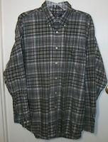 Roundtree & York mans shirt XL 100% cotton dk olive,white,taupe,lt blue plaid