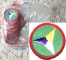 12 PERSONAL HEALTH, Girl Scout Red Worlds to Explore Badge NEW in 1 DOZ. PKGS.