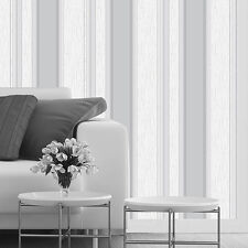 SYNERGY TEXTURED STRIPE DOVE GREY WHITE GLITTER FEATURE DESIGNER WALLPAPER M0853