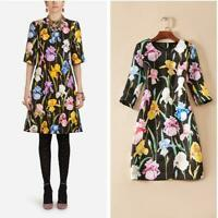 2019 Runway Crewneck Short Sleeve Zipper Floral Print Graceful Dress Occident Sz
