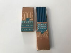 Very Old Vintage Dozen NOS Unused 1936 Eagle Turquoise Drawing Pencils 5H 0101