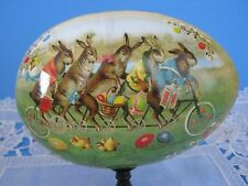 Large Nestler Easter Rabbit/ Bunny On Bicycle/ Chicks Cardboard Egg- Germany