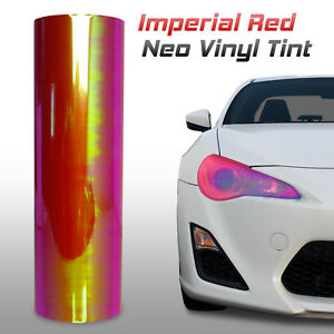 """12""""x60"""" Chameleon Neo Red Headlight Fog Light Taillight Vinyl Tint Film (j)"""