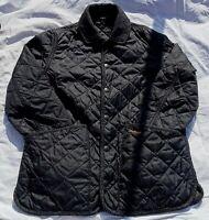 Barbour Gents Batesman Quilted Jacket Small Black Wool herringbone Heritage Used