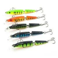Double Section Bionic Fishing Lure Crank Salmon Bait Bass Tackle Hook Spinn Y0X8