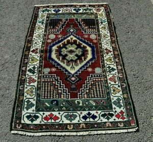 Turkish Vintage Traditional Handwoven Oushak Cappadocia Carpet Antique Rug 3x4ft
