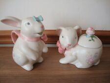 Pfaltzgraff Tea Rose Bunny Sculpted  Sugar Bowl & Creamer Set
