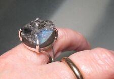 Sterling silver natural SPECTROLITE LABRADORITE ring UK M¾-N/US 6.75. Gift bag.