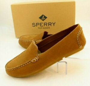 New SPERRY Bay View Block Tan Size 9.5 M Leather Women's Driver Loafer MSRP $100