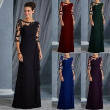 Womans Long Lace 3/4 Sleeve Formal Evening Dress Ruffles Cocktail Prom Ball Gown