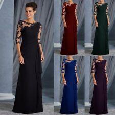 Womans Long Lace 3/4 Sleeve Formal Evening Dress Ruffles Mother of Birde Dresses