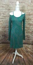 Erge Designs Cold Shoulder Dress Green Gray Medium