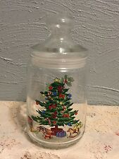 """Vintage Glass CHRISTMAS TREE Jar Candy Container 8"""" Holly Wreath"""
