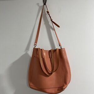 Madewell Medium Transport Tote Orange Tan Leather Handbag Purse Bag Tote Satchel
