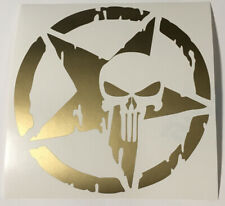 Gold Circled Star Punisher Skull Vinyl Sticker Decal Approx 55 X 55 Inches