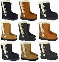 WOMENS LADIES NEW FLAT KNEE HIGH FUR LINED WARM WINTER PULL ON BOOTS UK SIZE 3-8