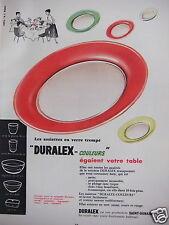 PUBLICITÉ 1954 DURALEX ASSIETTES VERRE TREMPÉ COULEURS SAINT-GOBAIN -ADVERTISING