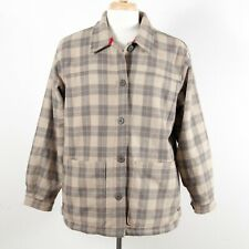 Woolrich Button Wool Barn Chore Coat Faux Shearling Liner Khaki Plaid Women's XL