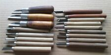 Lot of 17 Woodworking /Carving Wooden Handle Tools Preowned