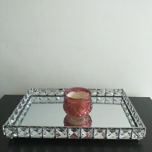 30 X 20 CM Rectangular Big Jewel Candle Tray Diamante Mirror Candle Table Decor