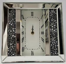 Diamond Crush Crystal Sparkly Silver Mirrored  Elegant Table Clock