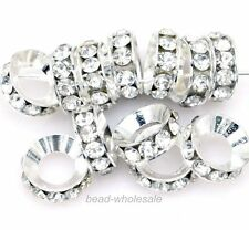 European Big Hole Metal Bead 15Pcs Silver/Gold Plated Crystal Rhinestone BEADS