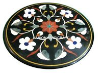 Black Marble Coffee Table Top Mosaic Marquetry Rare Inlaid Outdoor Decor H2437