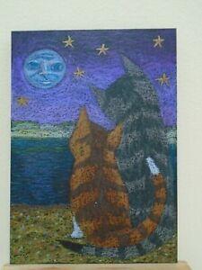 ACEO Ollietuxedo Original Handmade Art Cards Cats Talking to the Moon Sunset