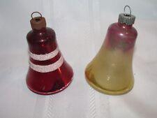 2 Vintage Bell Christmas Ornaments - Mica - Mercury - Shiny Brite