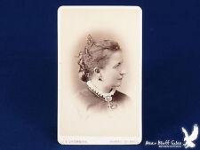 J.E. Livernois QUEBEC Canada CDV Photo Portrait Lady Big Cross Bird Earrings