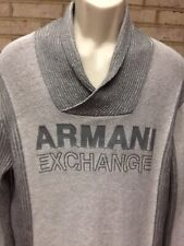 ARMANI EXCHANGE Men's Sweater Pullover size Large Shawl Collar Spellout Gray