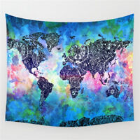 Vintage World Map Mandala Wall Hanging Tapestry Bedspread Dorm Home Room