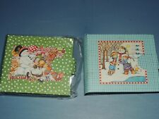 "2 MARY ENGELBREIT CELEBRATE HOLIDAYS SNOWMAN MINI PHOTO ALBUMS 3x2 7/8"" HOLDS 24"