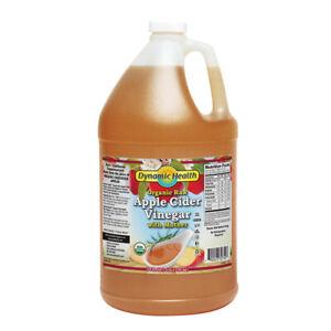 Dynamic Health Certified Organic Raw Apple Cider Vinegar with Mother  128 FL OZ