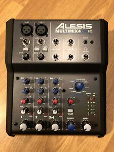 Alesis MultiMix 4 USB FX 4 Kanal Mischpult Digitalausgang Effekte Netzteil