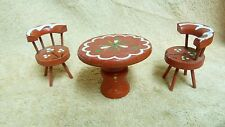 DOLLHOUSE MINIATURES RED WOODEN HAND PAINTED TABLE + 2 MATCHING CHAIRS #42