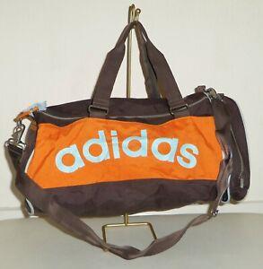 ADIDAS - Vintage Orange & Brown Canvas Holdall Sports Bag Case - LARGE