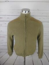 Orvis Men's Tan Size L Full Zip Lined Sweater Suede Shoulder Patches And Trim