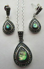 925 Sterling Silver Jewellry Pendant & Earrings With Stunning Abalone (nk1603)