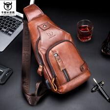 Men Genuine Leather Retro Chest Sling Shoulder Sport Bag Cross-body Waist Pack