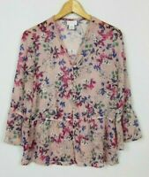 Liz Claiborne Women's Small Pink Semi Sheer Floral 3/4 Sleeve Button Front Top
