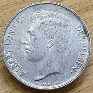 1911 Belgium 2 Frank Silver Coin Dutch Text